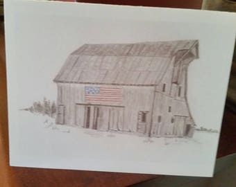 Artist NOTECARDS hand drawn graphite digital print package of 10 Country AMERICAN FLAG