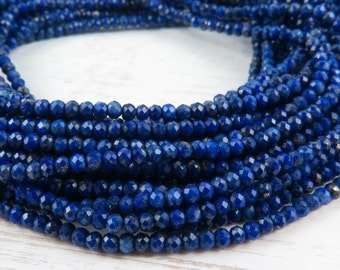 "Lapis Lazuli Micro-Faceted Rondelles, AAA, 2mm ~ 13"" Strand (CG9016E)"