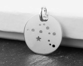Sterling Silver Aquarius Constellation Pendant 18mm (CG9618)