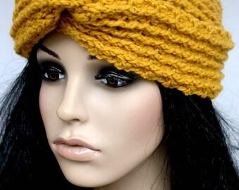 Crocheted Gold Turban Headband. Messy Bun Hat. Ear Warmer. Mustard. Teens. Women. Adult.