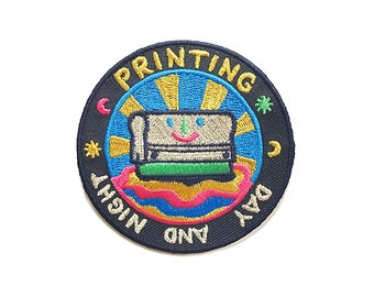 Printing Day And Night / Gold and Silver/ Iron On Patch