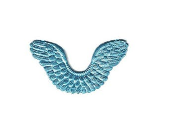 Dresden Germany 7 Light Blue Paper Foil Die Cut Angel Wings With Hanger  DFW789aLB