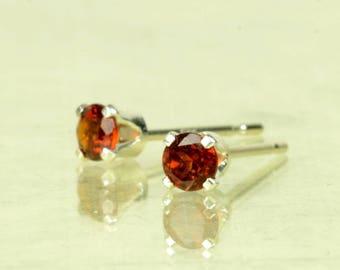 Garnet earrings, sterling silver and garnet studs, 3mm, 4mm, red brown gemstone earrings, January birthstone jewellery, birthstone earrings