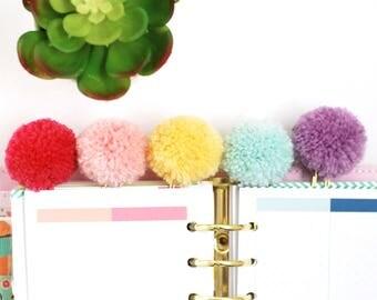 Pastel Pom Pom Planner Clip / Bookmark