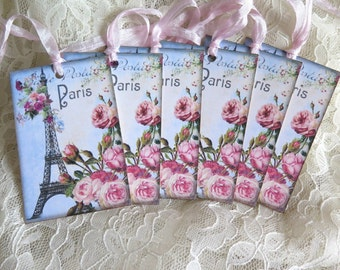 6 French Blue Eiffel Tower Gift Tags Shabby Chic Vintage   French Pink Roses Journal Tag Hang Tag