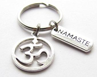 Om Aum Ohm Namaste Yoga Reiki Key Chain
