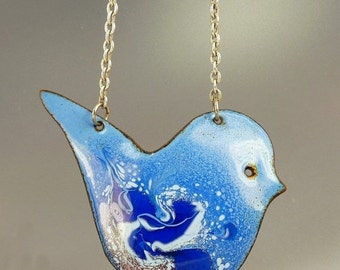 Mid Century Enamel On Copper Bird Pendant Necklace Signed Lois Bee