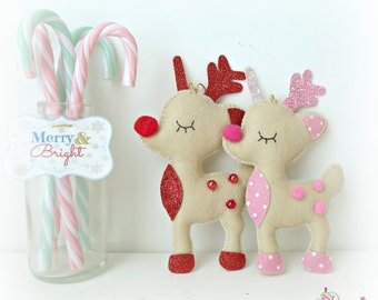 Fawnicorn Hanging Decoration - Super Cute fawn unicorn ornament - personalise Pink Red