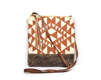 weekdayer • crossbody bag - geometric print • orange geometric print - screenprint - waxed canvas - triangles - iPad bag - boho - summer