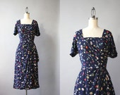 1940s Rayon Dress / Vintage 40s Dark Floral Rayon Dress / Forties Hip Drape Fitted Dress
