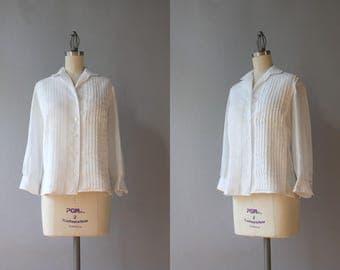1950s Blouse / Vintage 50s Sheer White Cotton Batiste Blouse / 50s White Button Down Blouse medium M small S
