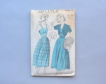 Vintage Advance Pattern / 1940s Sewing Pattern / Uncut 40s Dress Pattern Sundress with Bolero 4874 27 waist FF Factory Fold