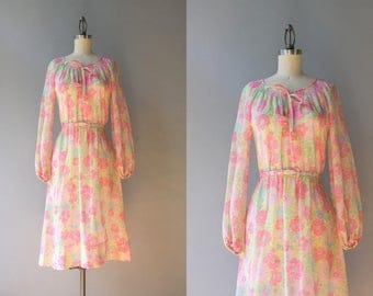 1970s Dress / Vintage 70s Pink Floral Peasant Dress / 70s Sheer Cotton Bow Neck Dress M L medium large