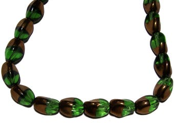 Green and gold glass beads 10x12mm 1 strand
