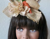 Burlap Bunny Ear Headband with burlap flower, and cute carrot Easter bunny Steampunk Comic Con Costume Wedding