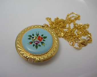 Enamel Hand Painted Vintage Watch Pendant Necklace on Long Chain Working Watch Nurses Watch 1960s