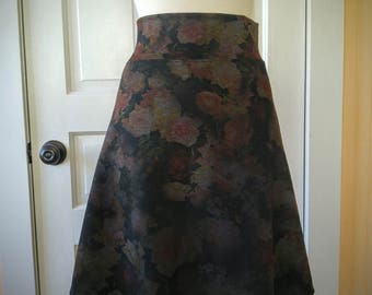 Jersey Knit Skirt - Slim A-line - Floral Space Dye Pattern in Gold - Size Large