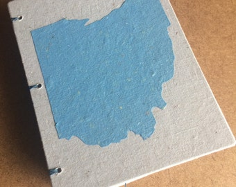 Blue Ohio journal, handmade paper journal, sketch book, travel journal, guest book, recycled guestbook, diary, Ohio, Columbus