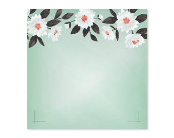 Mint Floral Notepad // 1canoe2 // Hand illustrated
