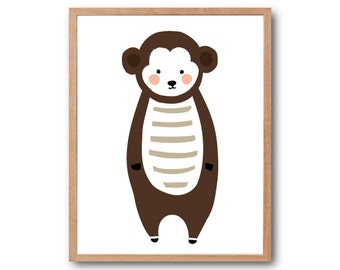Baby Monkey Art Print, Monkey Art Print, Baby Nursery Decor, Animal Illustration, Kids Gift, Baby Shower Decor, Animal Nursery, home decor