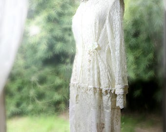 Vintage Lace Handmade Wedding Dress . Ivory Lace Full Length Bridal Dress . Wedding Coat . Boho Bride . Wodland Wedding . Ivory Lace Dress