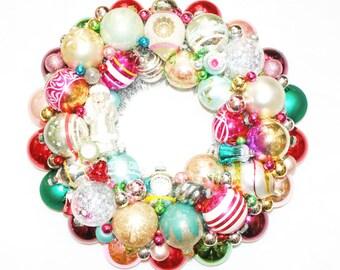 Vintage Ornament Christmas Wreath Holiday Santa Glass Pink garland tinsel