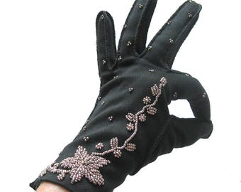 Bronze BEADED Evening Gloves in Black - Short Opera Gloves - Black Double-Woven Cotton with Bronze Beads / Formal Gloves / Size 7.5