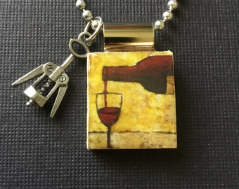 red wine jewelry, wine lovers jewelry, red wine pendant, handmade wine jewelry, recycled scrabble tile jewelry, corkscrew charm, wine gift
