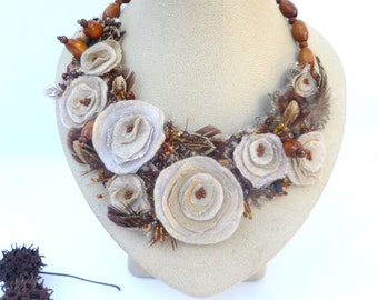 Vintage tales XXXII necklace, mixed media wearable fiber art floral bead embroidery, bohemian statement necklace