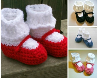 Crochet Baby  Booties  MaryJanes Baby Shoes Slippers Your Color Choice