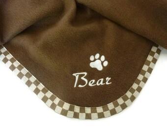 Pet Blanket.Personalized Pet Blanket. Dog Blanket. Cat Blanket. Fleece Pet Blanket. Brown Check Pet Blanket