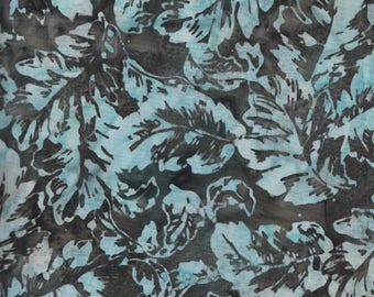 Hoffman Bali Batiks URT 2021 Medium Leaves on Gray by the yard