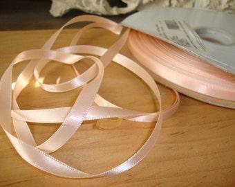 "Peach ribbon satin trim ribbon destash 3 yards 1/4"" wedding ribbon crafts supplies favor embellishments fabric art supplies"