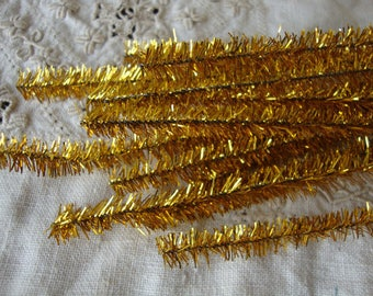 gold tinsel stems wired trims 25 pieces 12in kids craft supplies vintage christmas crafts supplies pipe cleaners