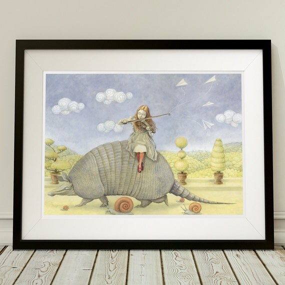 "Armadillo 12x16 Fine Art Print, Girl with Violin Painting, Fairy Tale Art, ""Armadillo Dream"" Limited Edition"