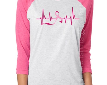Breast Cancer Awareness T-shirt, October Pink Ribbon Shirt, Support Breast Cancer Survivor and Raise Awareness of Breast Cancer, Heartbeat