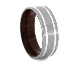 Mens Titanium Ring With Honduran Rosewood Sleeve, Sterling Silver Wedding Band, Personalized Mens Jewelry