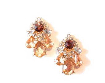 Pair of Small Peach and Dark Topaz Rhinestone Drop Charms Acrylic and Gold-tone