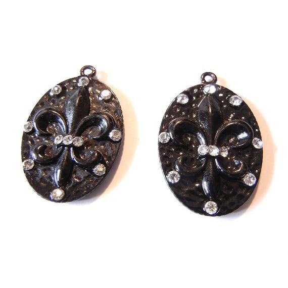 Pair of Oval Black Epoxy Fleur de Lis Charms Rhinestones