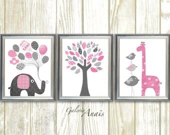 Baby Girl Nursery Decor Pink Gray Nursery Art Elephant Nursery wall art Giraffe Nursery Bird Tree Kids wall art - Set of three prints