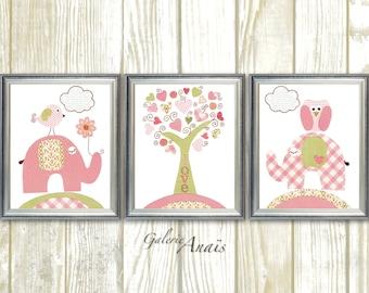 Owl nursery art elephant nursery wall art baby Girl Nursery Decor bird nursery kids wall decor tree nursery - Set of 3 Prints Tree Of Love