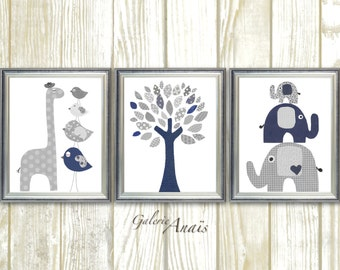 baby boy nursery decor Kids art navy gray nursery wall art elephant nursery  giraffe nursery bird Tree Set of three prints