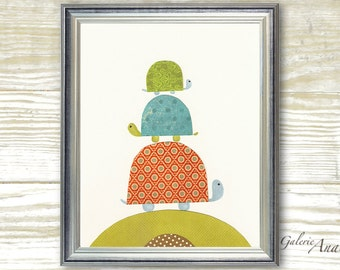 Baby nursery art - baby nursery decor - nursery wall art - Kids art - nursery turtle - kids room decor -  Going Places print