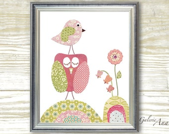 Baby Girl Nursery Decor kids wall art nursery wall art kids owl nursery art pink and green nursery - Douceur Du Jour print