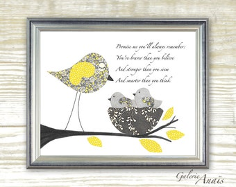 """Promise me """"Winnie the pooh"""" - childrens wall art - kids room - yellow and gray baby nursery art - Birds nursery nest - Warm and Cozy"""