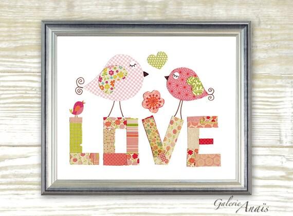Art for Children Nursery art prints - baby nursery decor - nursery wall art - children wall art - kids art - Birds - Love print