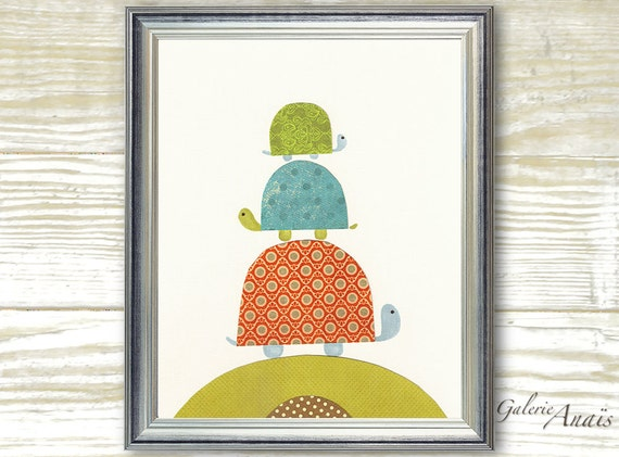 Baby nursery art - baby nursery decor - nursery wall art - Kids art - nursery turtle - kids room decor -  Going Places print