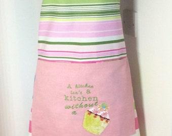 Baking apron,Ladies apron-A kitchen isn't a kitchen without a cake embroidered apron OOAK