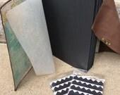 Photo Album - Leather travel photo album, Black Archival Pages - includes photo corners