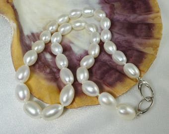 White Drop Pearl Necklace Classic Statement Wedding Strand Sterling Silver Orbit Clasp High Luster Dreamy Refined Chic Hand Knotted in USA